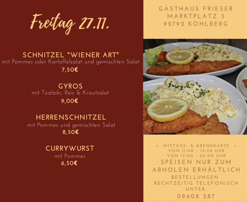 Speisekarte Freitag